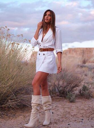 dress blazer white blazer blazer dress rocky barnes instagram boots belt mini dress spring outfits shoes