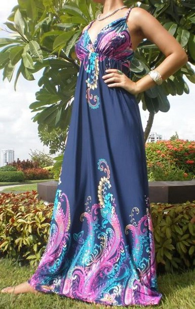 Empire waist maxi dress blue