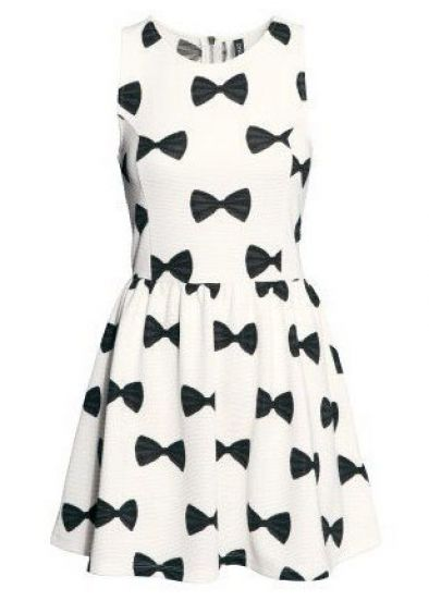 White Sleeveless Bow Print Pleated Dress - Sheinside.com