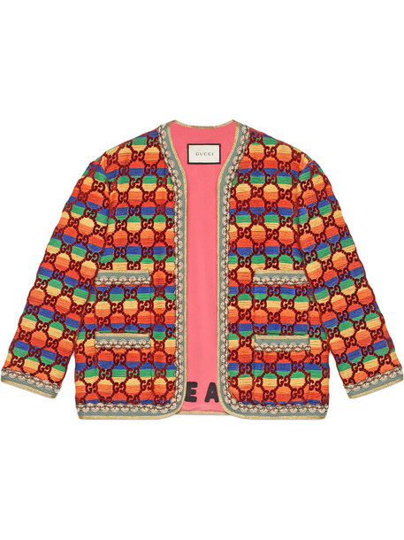 gucci jacket rainbow women silk velvet
