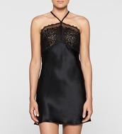 underwear,lace dress,slip dress,calvin klein,calvin klein underwear,black lace