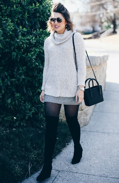 life & messy hair blogger sunglasses shoes sweater jewels bag skirt turtleneck sweater thigh high boots boots spring outfits