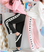 pants,girly,sweatpants,joggers,black,pink,heart