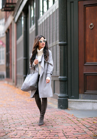 extra petite blogger coat shoes jeans bag sweater fall outfits turtleneck sweater grey coat tote bag thigh high boots