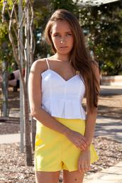 top,pleated,shopfashionavenue,paper heart,white,yellow