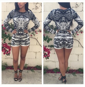 romper black ahri sonyabee two-piece black and white crewneck sweater short heels black heels the_jodiejoe short shorts warm african american