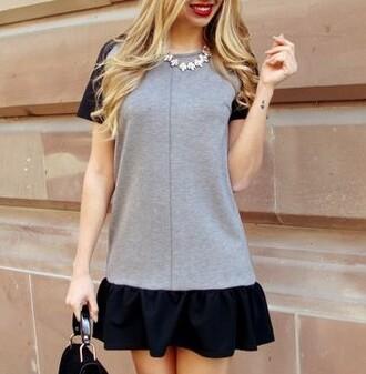 dress bicolor grey black fashion