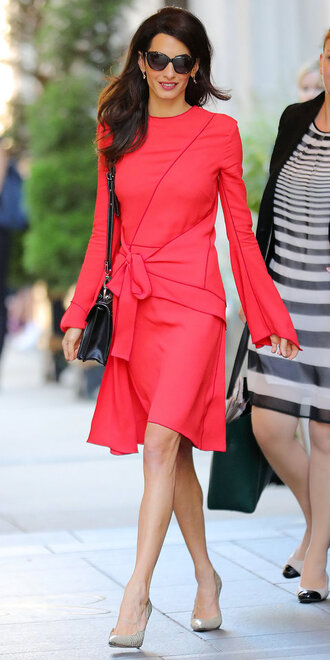 dress red dress amal clooney pumps sunglasses shoes nude heels