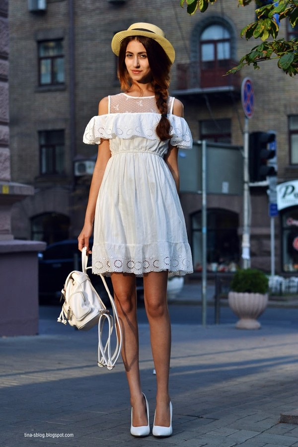tina sizonova dress shoes eyelet dress white dress mini dress summer dress summer outfits cut out shoulder backpack white backpack ruffle dress pumps high heel pumps white pumps hat straw hat