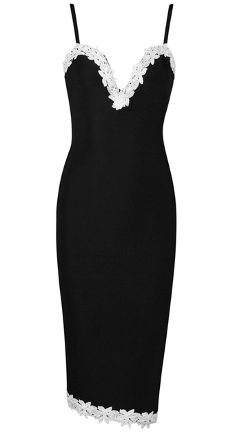 Crochet Applique Midi Bandage Dress Black White