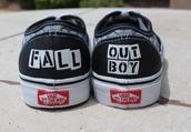 shoes,vans,black,fall out boy,band merch