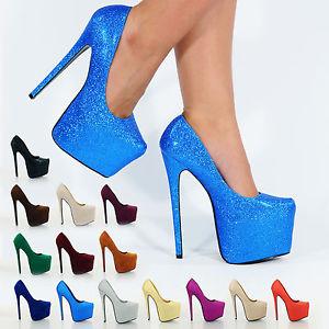 new womens ladies concealed platform stiletto high heels court shoes ... 555366def