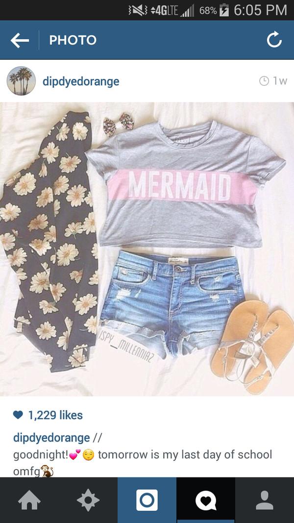 shirt grey t-shirt mermaid grey