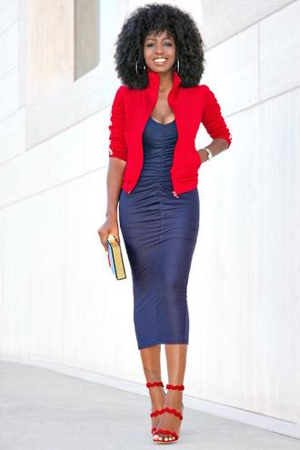 blogger dress jacket jumpsuit bag shoes blue dress red jacket