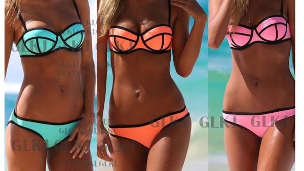 swimwear bright bikini neon fashion mint bathing suit summer