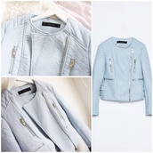 jacket,zara jacket,baby blue,pastel,pastel blue,pastel jacket,spring,summer,spring jacket,summer jacket,winter outfits,fall outfits,winter jacket,fall jacket,silver,pale,casual,pretty,natural,chic,cute,feminine,girly,classy,luxury,perfect,zarajacket,www.zara.com,sweet,lovely,fashion,style,stylish,elegant,fashionista,streetstyle,leather jacket,victoria secret jacket,juicy couture