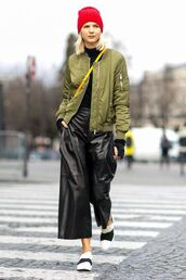 pants,leather culottes,culottes,black culottes,black leather pants,leather pants,black pants,bomber jacket,khaki bomber jacket,army green jacket,top,black top,turtleneck,sneakers,white sneakers,low top sneakers,fall outfits,beanie,red beanie,crossbody bag