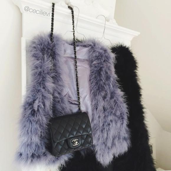 fur black purple fur vest fur coat fur vest