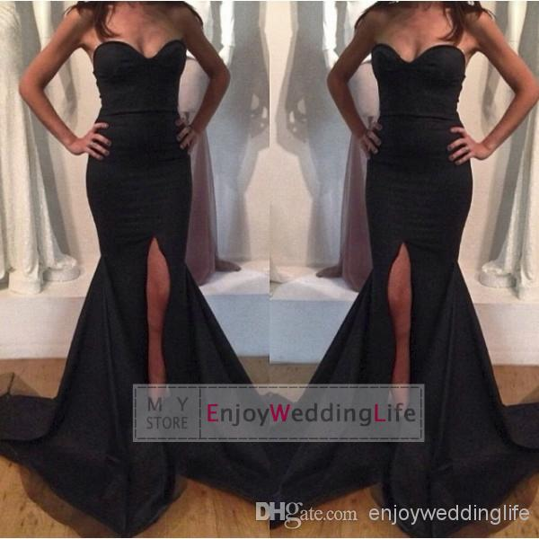Discount new sweetheart satin mermaid evening dresses ruffles split online with $98.96/piece