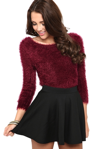 Solid knit skater skirt