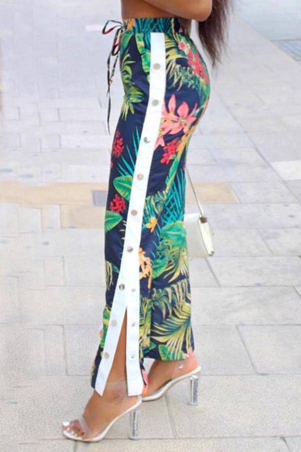 pants button adidas open pants side split tracksuit track pants bottoms floral tropical