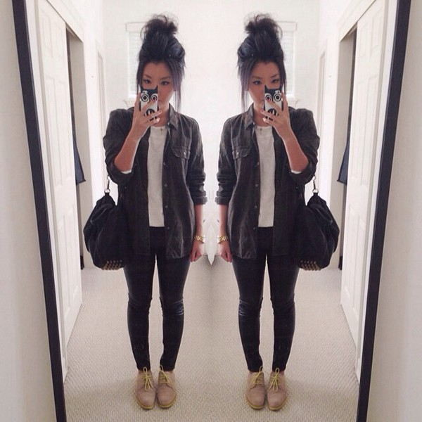 bag outfit ootd studs fashion instagram jeans shirt
