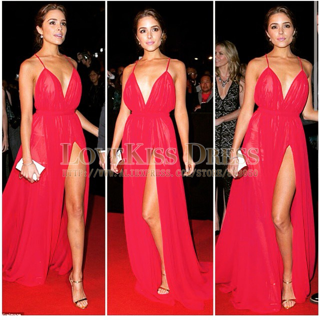Aliexpress.com : Buy Sexy V Neck Spaghetti Strap Red Chiffon Side Slit Long Formal Evening Prom Dress 2015 Plus Size from Reliable prom dress size 20 suppliers on Love Kiss Evening Dress and Wedding Dress Manufactory | Alibaba Group
