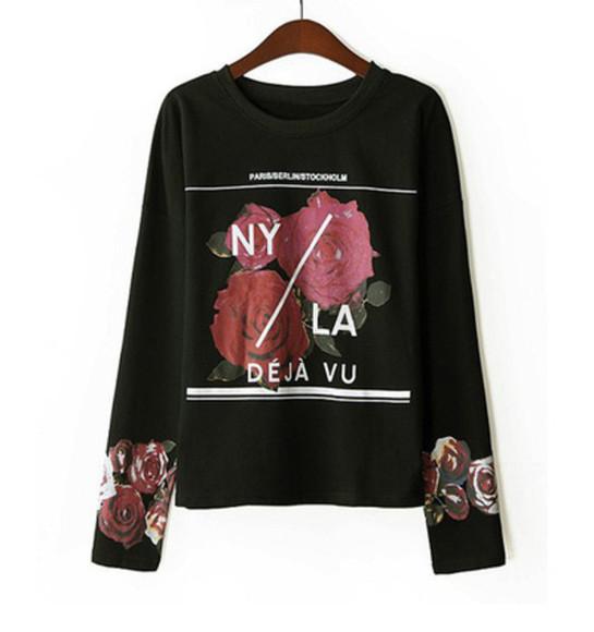 ny los angeles top sweater chic deja vu floral sweater Black sweatshirt LA