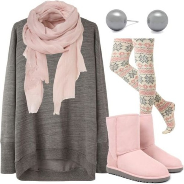 sweater clothes tumblr girl uggs perls scarf oversized sweater cute ...