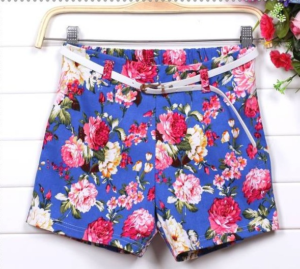 Whosale Price Fashion Floral Shorts With Belt on Luulla