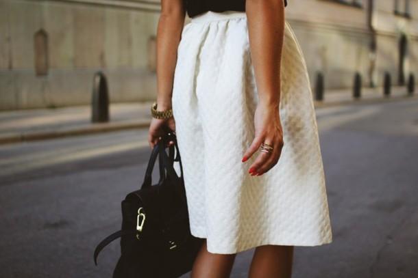 skirt quilted skirt full skirt white skirt clothes