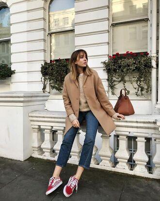 shoes sneakers red sneakers vans vans outfits denim jeans blue jeans cropped jeans coat camel camel coat bag brown bag