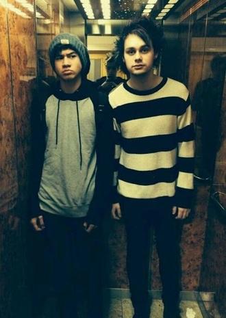 michael clifford calum hood striped sweater sweater