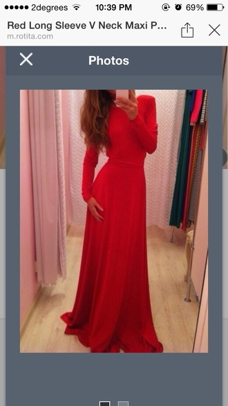 dress red red dress maxi dress maxi long sleeve dress backless dress