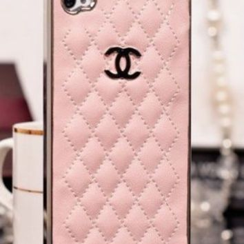 Designer inspired Chanel CC Iphone 5/5S Leather hard back Case,light pink with silver CC logo and frame.luxury style and touch feeling.BUY one get one matched Free 3.5mm crystal Anti dust Ear Cap Dock Plug,Shipping from Alberta,Canada:Amazon on Wanelo