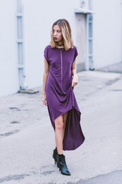 lound and tasteless,blogger,jewels,purple dress,high low dress,necklace,black boots