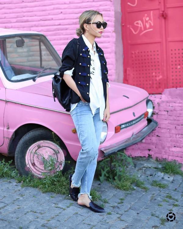 sunglasses tumblr black sunglasses denim jeans blue jeans shoes mules shirt white shirt jacket military style black jacket backpack black backpack