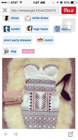 aztec bodycon dress white sexy party dress padded cups gold heels chique dress
