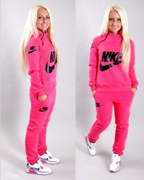 80632867e5 jumpsuit nike nike air nike sportswear pink crewneck sweater hoodie pants  workout sporty joggers tracksuit sweatshirt