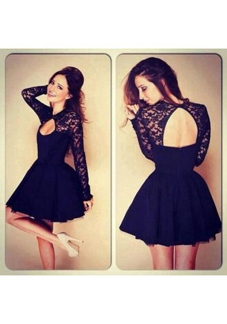 dress keyhole backles backless sexy backless desses royal blue darkblue black party dress cheap dress short dress mini dress discount short mini dresses high neck dress high neck long sleeves cheap 2015 graduation homecoming dress
