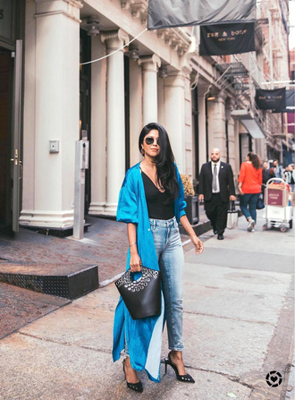 dress slit dress tumblr maxi dress long dress blue dress denim jeans blue jeans top black top pumps slingbacks bag black bag