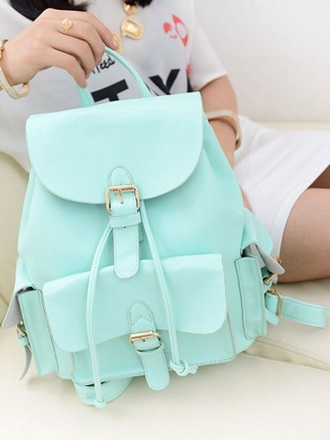 bag mint mint green bag cute backpack blue leather backpack