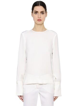 shirt jersey shirt silk top