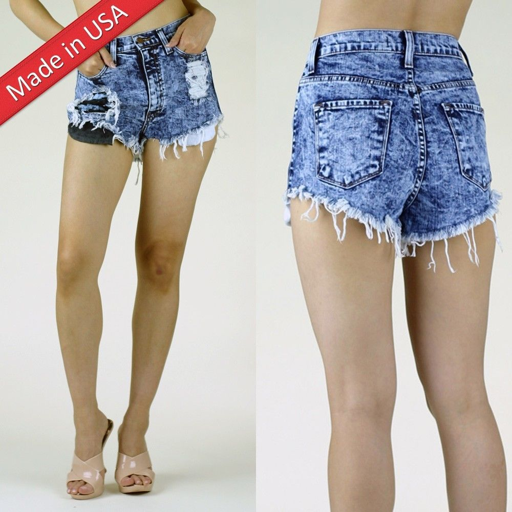 Hole Denim Washed High Waist Cut Off Frayed Jean Shorts Pants USA