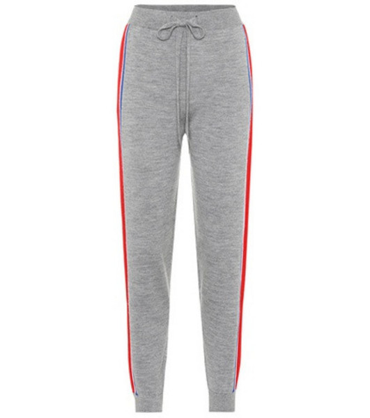 Être Cécile Striped merino wool track pants in grey