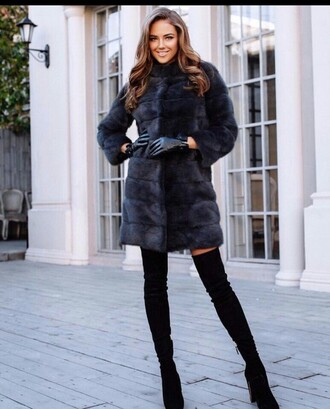 coat faux fur coat black fur coat gloves leather gloves boots black boots over the knee boots thigh high boots high heels boots winter date night outfit