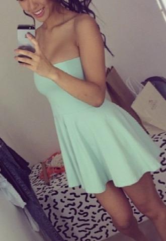 dress turquoise dress green dress cute dress cute off-shoulder