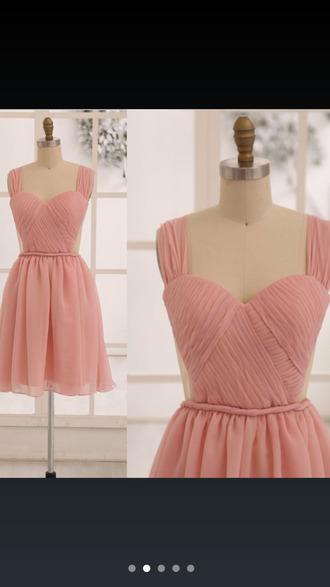 dress chiffon pink dress blush pink prom dress bridesmaid wedding