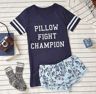 pillow fight pillow fight champion pillow shorts socks cozy pajamas graphic tee funny quote on it nightwear