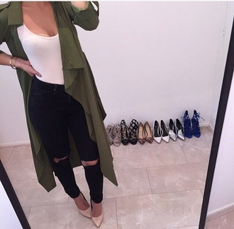 coat green long trench coat dark white top army green jacket black high waisted pants black ripped jeans black jeans jeans denim ripped jeans high waisted jeans skinny jeans outfit outfit idea streetwear girly jacket girly wishlist